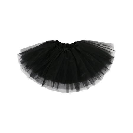Girls Tutu Children's 4 Layered Tulle Princess Ballerina Dance Skirt, Black - Black Tutu Skirts