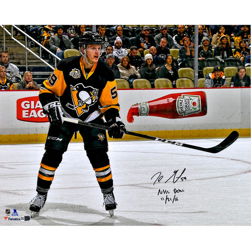 """Jake Guentzel Pittsburgh Penguins Autographed 16"""" x 20"""" NHL Debut Skating Photograph with NHL Debut 11 21 16... by Fanatics Authentic"""
