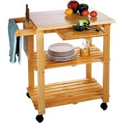 Deal Alert Way Rolling Kitchen Cart Island Wood Top Storage