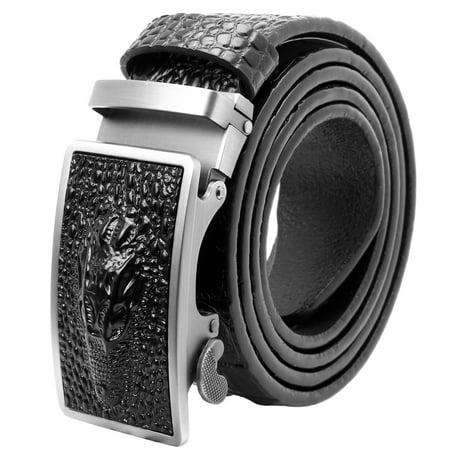 Falari Men Alligator Dress Belt Embossed Genuine Leather Strap Automatic Buckle - Genuine Alligator