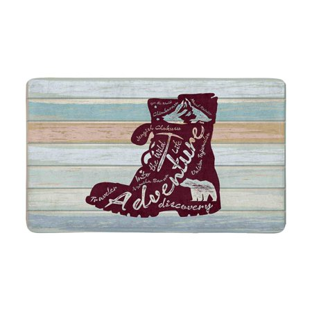 MKHERT Wood Travel Quote On Boot Silhouette Doormat Rug Home Decor Floor Mat Bath Mat 30x18 inch ()