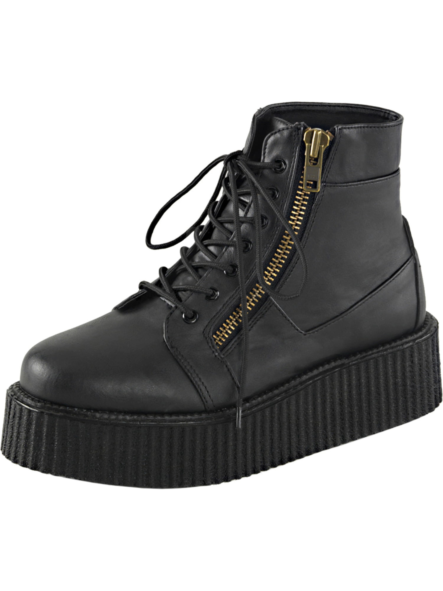 Mens Platform Boots Black Creeper Shoes Lace Up High Top Sneakers 2 In Platform