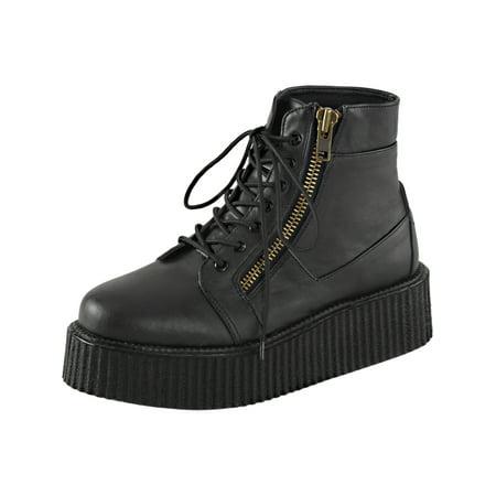 Mens Platform Boots Black Creeper Shoes Lace Up High Top Sneakers 2 In Platform (Mens Platform Shoes)