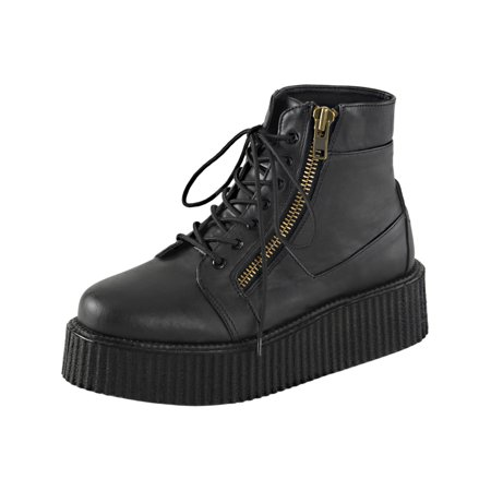 Mens Platform Boots Black Creeper Shoes Lace Up High Top Sneakers 2 In Platform (5 Inch Platform Sneakers)