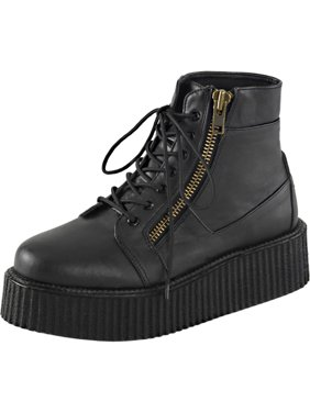 8187fee93f7 Product Image Mens Platform Boots Black Creeper Shoes Lace Up High Top  Sneakers 2 In Platform