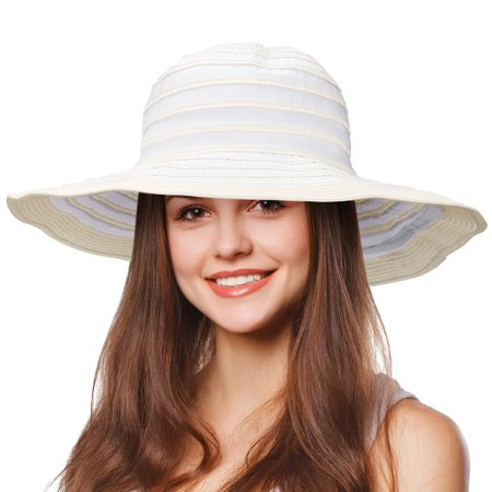 - Tirrinia Women Floppy Straw Sun Hat Wide Brim Striped Beach Cap Foldable White