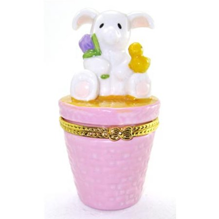 Easter Bunny Tulip Chick Hinged Trinket Box phb
