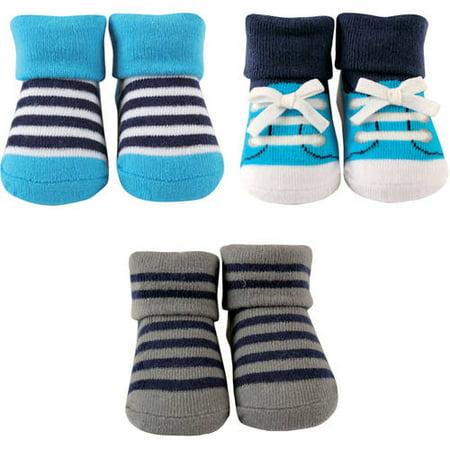 Luvable Friends Socks Giftset, 3-Pack (Baby Boys) (Stripe Layette)