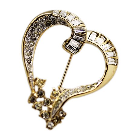 Curled Gold Colored Heart Shaped Large Lapel Pin w/Rhinestone Inlays