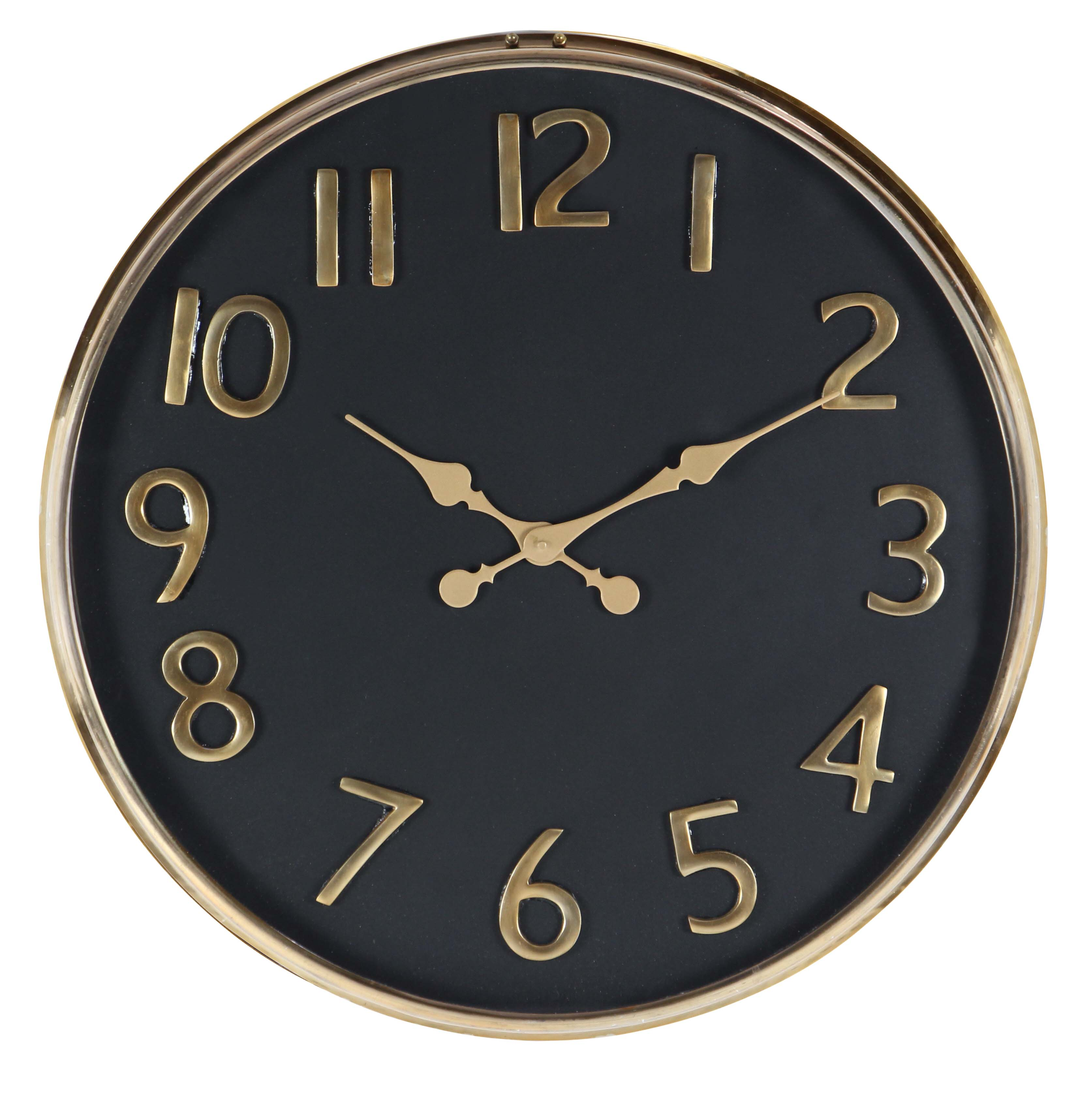 Decmode Contemporary 25 Inch Matte Black And Gold Round Wall Clock by DecMode