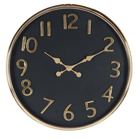 Decmode Contemporary 25 Inch Matte Black And Gold Round Wall Clock