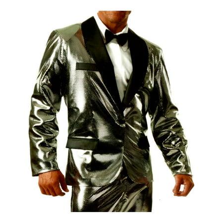 Men's Shiny Silver Rich Man Tux Tuxedo Holographic Jacket Costume Large 42-44](Rich Mahogany Halloween)