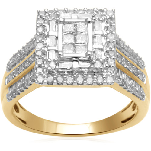 Forever Bride 1 Carat T.W. Princess, Baguette and Round-Cut Diamond 10kt Yellow Gold Engagement Ring by Generic