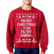 Mens Merry Christmas Animal Casual Sweater Knit Pullovers