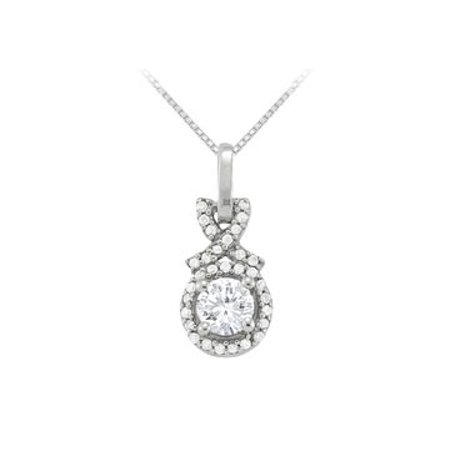 April Birthstone Cubic Zirconia Halo Pendant in 925 Sterling Silver - image 1 of 2