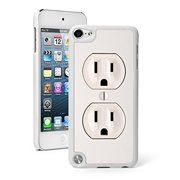 For Apple iPod Touch 5th / 6th Generation Hard Back Case Cover Power Outlet (White)