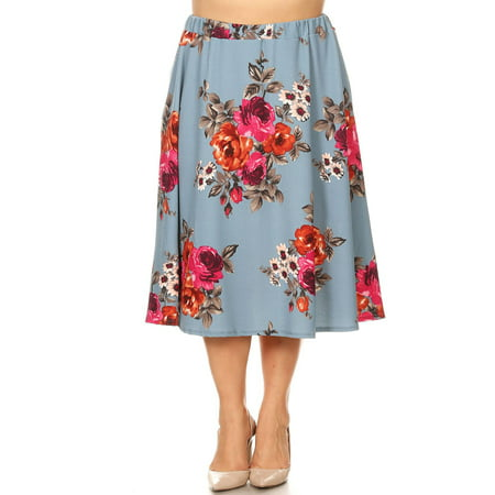 e128febc642 MOA COLLECTION Women s Plus Size Pattern Print Casual High Waisted Pleated  Midi Skirt Made in USA