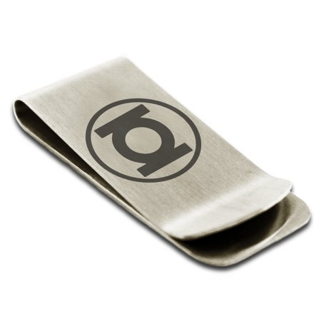 Stainless Steel DC Green Lantern Logo Engraved Money Clip Credit Card Holder