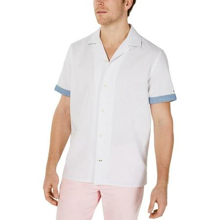 Tommy Hilfiger Mens Cooper Linen Blend Collared Button-Down Shirt