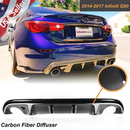 Xotic Tech Carbon Fiber Rear Diffuser S Style Bumper Lip Body Kit For Infiniti Q50 2014-2017