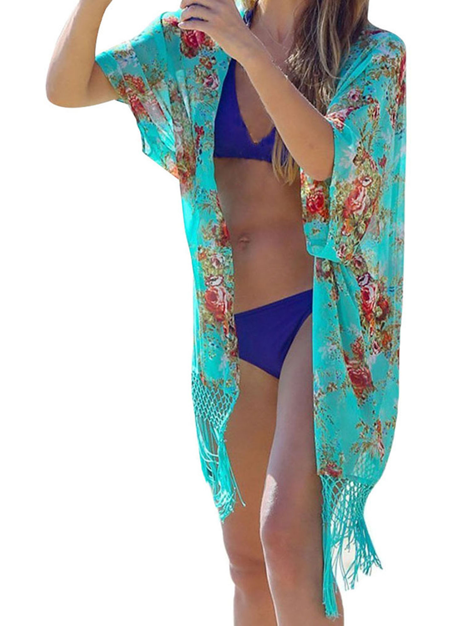 Women's Tassel Bikini Covers Floral Printed Bathing Suit Kimono Cover-ups