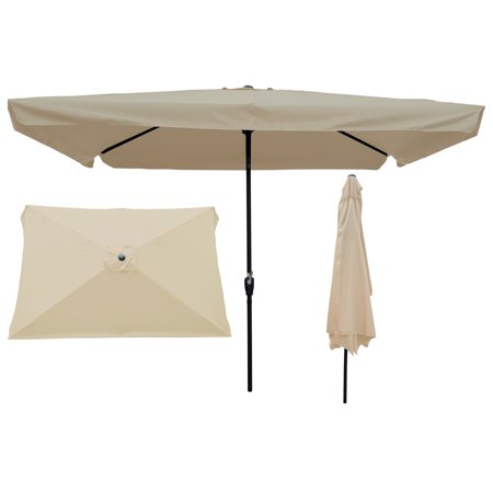 EVERKING 6.5x10ft Rectangular Patio Umbrella Outdoor Market Table Umbrella with 6 Sturdy Ribs Push Button Tilt and Crank Wind Resistant UV Protected Sun Shade for Garden Lawn Deck Backyard Pool