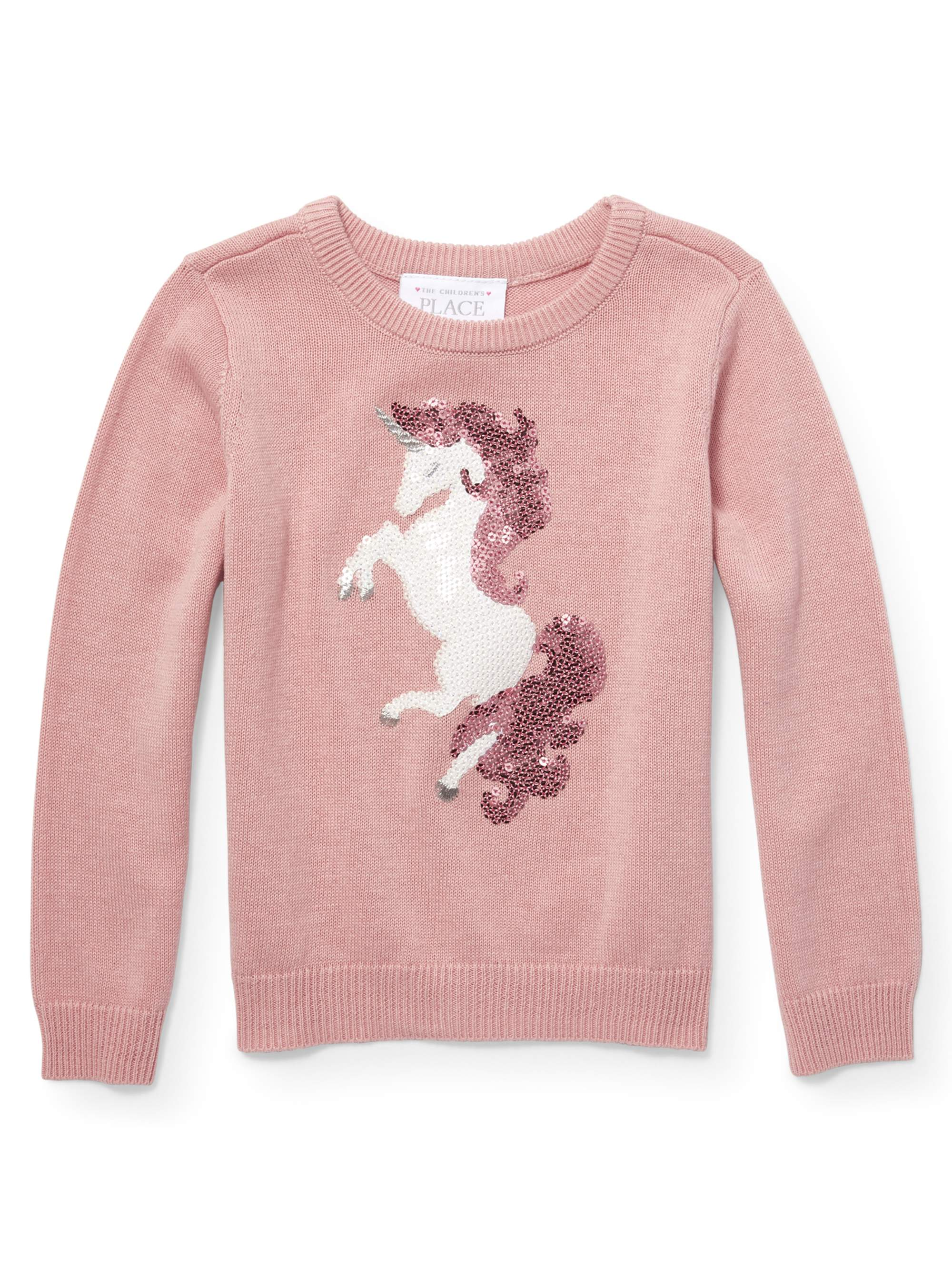 Baby And Toddler Girls Long Sleeve Sequin Graphic Icon Sweater