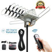 Outdoor TV Antenna 150 Miles Amplified Digital HDTV Antenna with 360°Rotation,Wireless Remote Control, 33 Feet Coax Cable