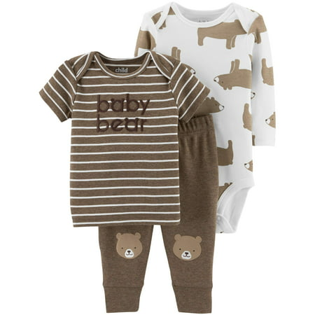 Child of Mine by Carter's Long Sleeve Bodysuit, T-Shirt & Pants, 3pc Outfit Set (Baby Boys)