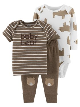 Product Image Long Sleeve Bodysuit, T-Shirt & Pants, 3pc Outfit Set (Baby Boys