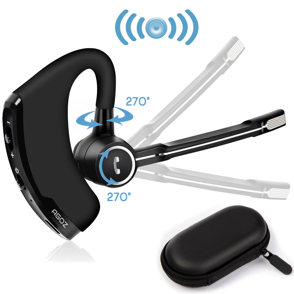 Bluetooth Wireless Headset Ear Hooks Earphones Noise Cancelling In-ear Earbuds With Mic for Apple iPhone X/8/8Plus/7/7Plus/6S/6, Samsung Galaxy Note 8/S9 Plus/S9/S8 Plus/S8/S7/J7/J7V/J3, Moto G5S G5