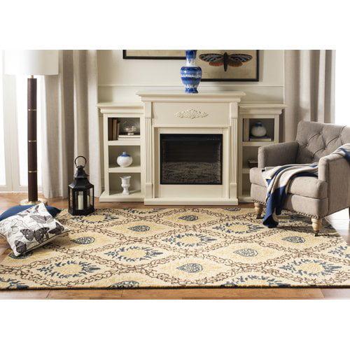 Charlton Home Dunbar Hand-Tufted Wool Beige/Dark Brown/Light Ivory Area Rug