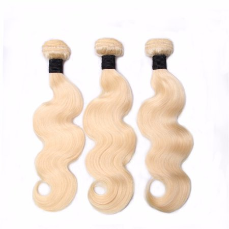 - Beroyal Brazilian Virgin Hair Body Wave 3 Bundles Blonde Human Hair Weave, 20
