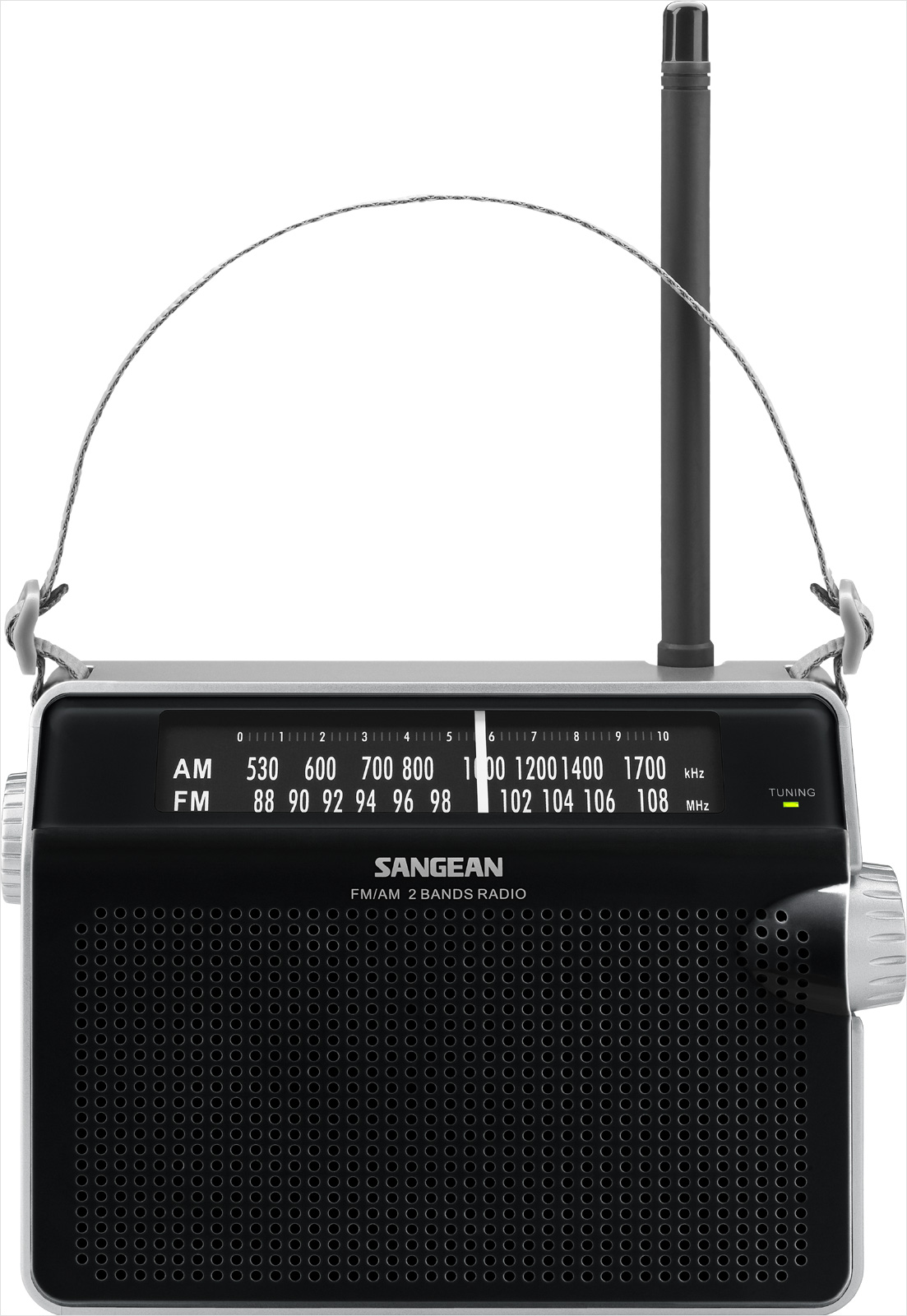 Sangean Compact Portable AM FM Radio with Built-in Speaker, Earphone Jack, LED Tuning Indicator & Carry Strap by Sangean