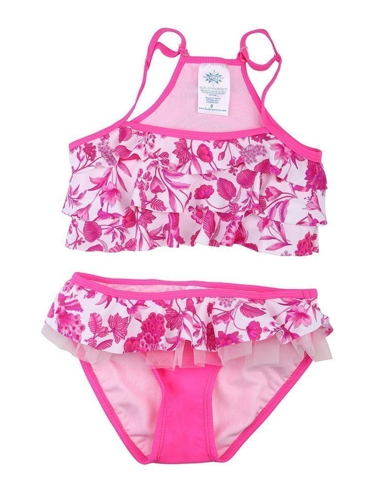 Sun Emporium Little Girls Pink Peacock Print Frill Detail 2 Pc Swim Set