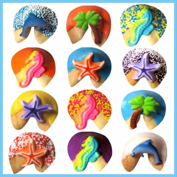 Birthday Beach Chocolate Dipped Fortune Cookies by
