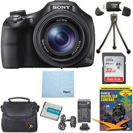 Sony DSC-HX400V/B 20MP Digital Camera Bundle with 32GB High-Speed Card, Spare Battery, Rapid AC/DC External Charger, Padded Case, DVD Photography Tutorial, and