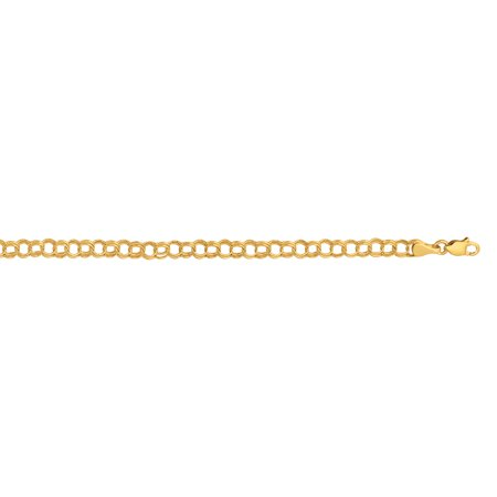 10K Yellow Gold Shiny Round Chain Link Womens Fancy Bracelet with Lobster Clasp