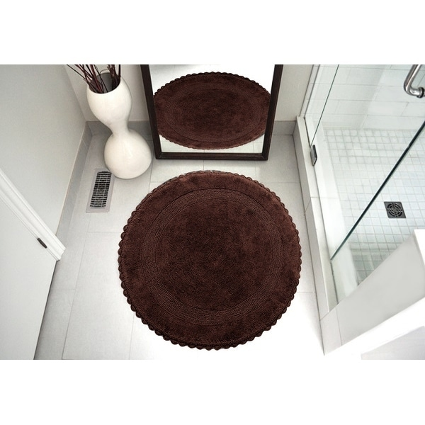 Round Cotton Bath Rug Reversible Hand