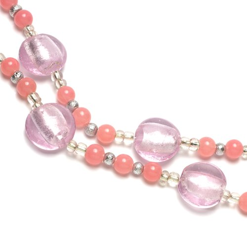 Strung Glass Flat and Round Bead Mix, Pink Foil, 80pc
