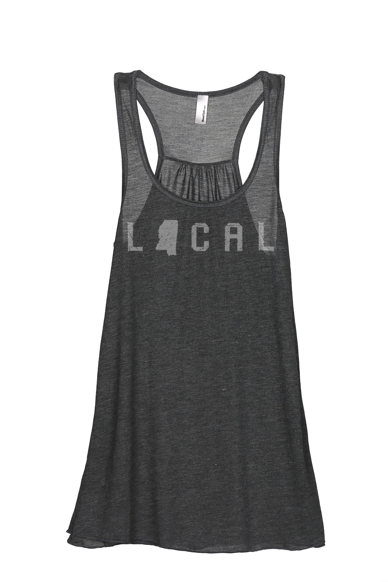 Thread Tank Local Mississippi State Women's Sleeveless Flowy Racerback Tank Top Charcoal Small by