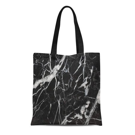 KDAGR Canvas Bag Resuable Tote Grocery Shopping Bags Floor Many White Patterned Natural of Black Marble Marquina Intrinsic Abstract Tote Bag