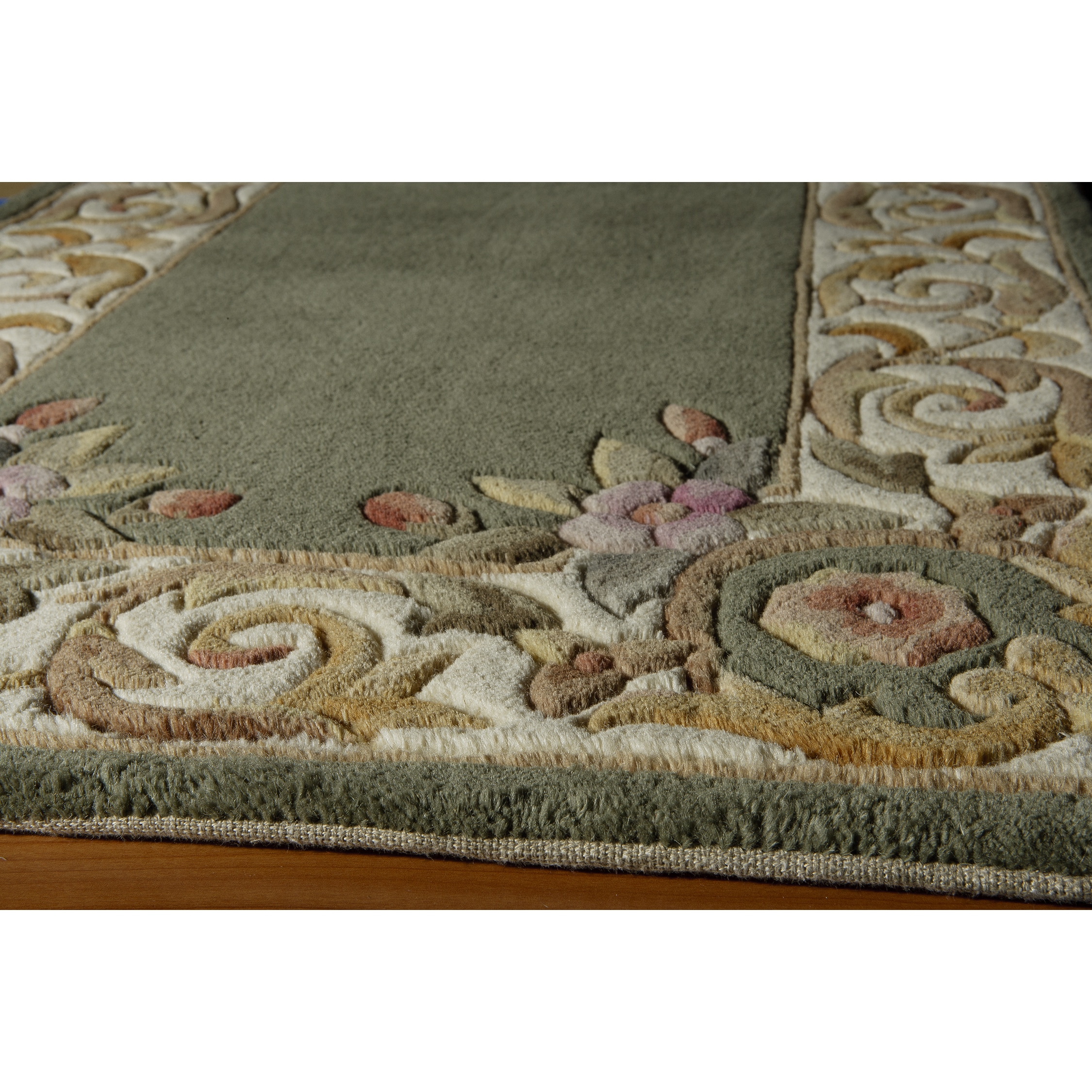 Momeni Aubusson Floral Border Hand-tufted Wool Area Rug (2'3 x 12') by Momeni