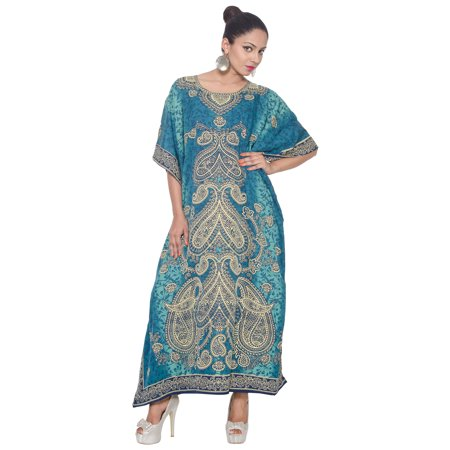 Blue Kaftan Dresses for Women Paisley Printed Caftans for Summer Beach for Ladies Party Wear Women's Plus Size Kaftan Full Length Free Size Long Women Dress ()