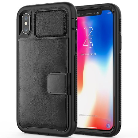 sports shoes 14e6b e9501 Durable And Slim Vegan Leather Wallet Portfolio Case For Apple iPhone XS /  iPhone X With Lightweight Classic Design, Dedicated Card Slots, and ...