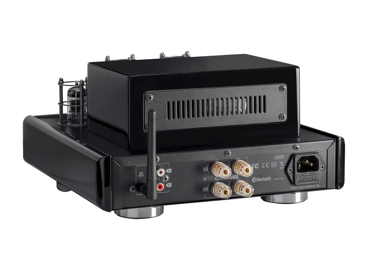 Monoprice 25 Watt Stereo Hybrid Tube Amplifier - Black/Silver With  Bluetooth Connectivity & One Stereo Analog RCA Input