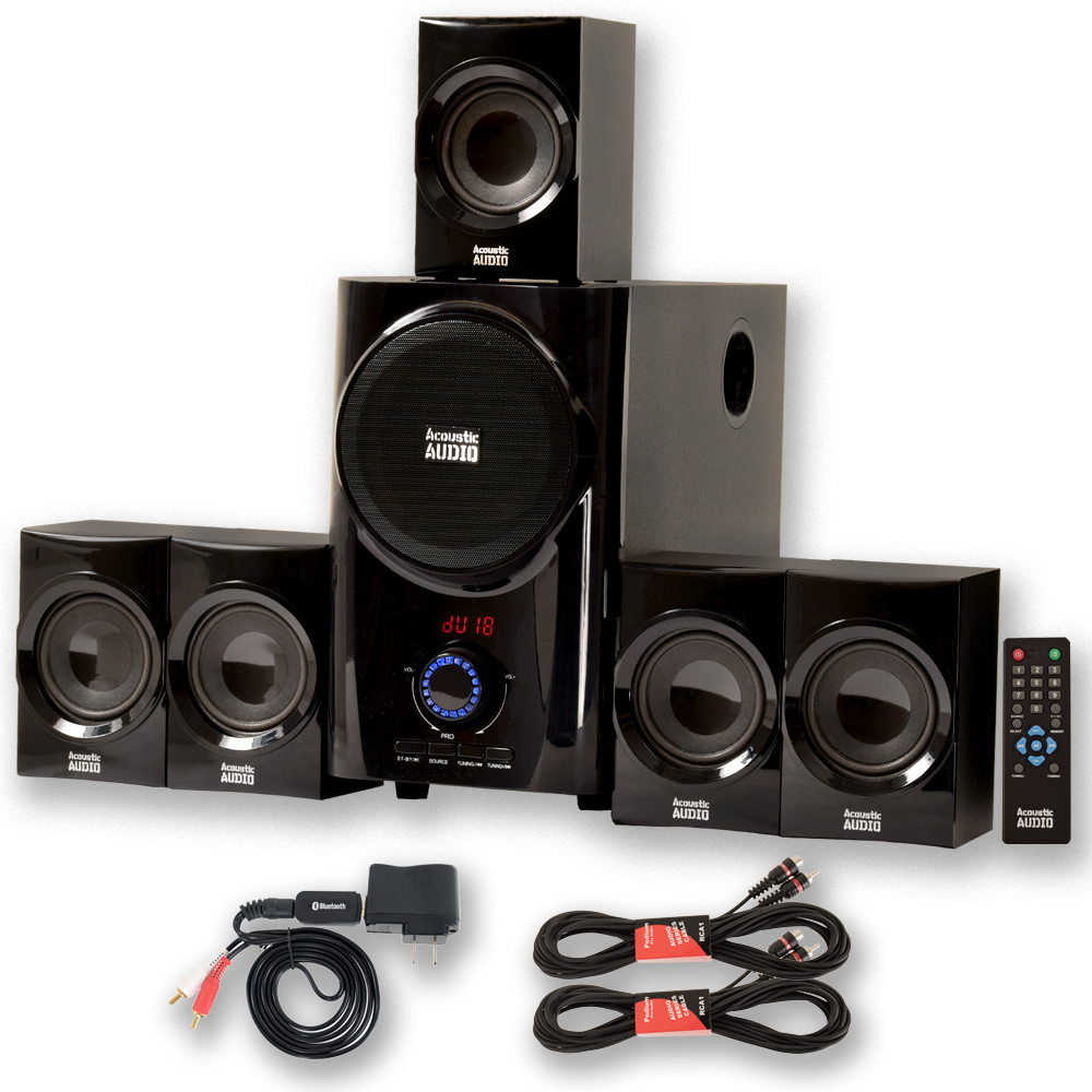 Acoustic Audio AA5160 Home Theater 5.1 Speaker System with Bluetooth USB and 2 Extension