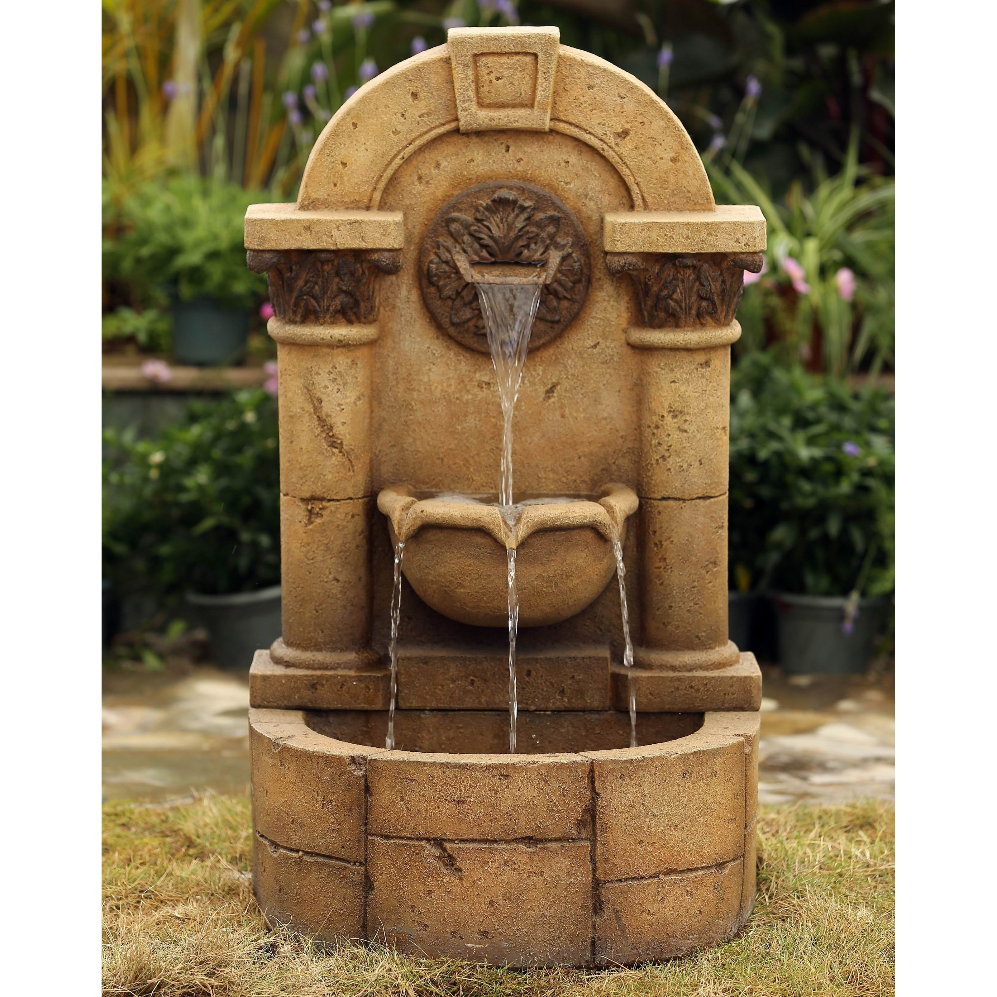 Jeco Marble Pillar Garden Wall Indoor/Outdoor Fountain