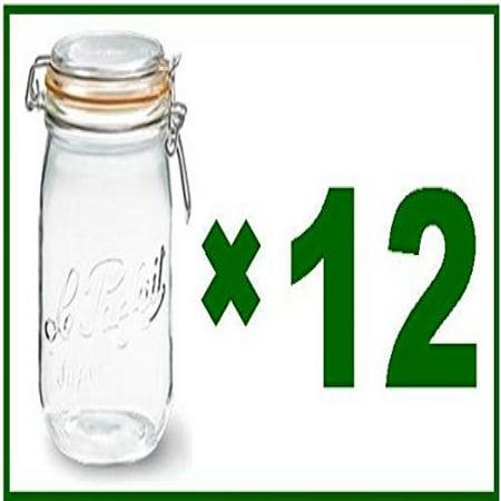 Le Parfait Glass Jars - Full Case of 12 - Le Parfait French Super Canning Jars With Bail Lid - 34 oz / 1 liter