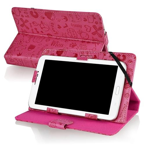 "Insten Hot Pink Universal 7-Inch Leather Stand Case For Samsung Galaxy Tab 3 4 7"" Apple iPad Mini 3 HP Slate7 Extreme"